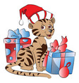 santa cat with christmas gifts vector image