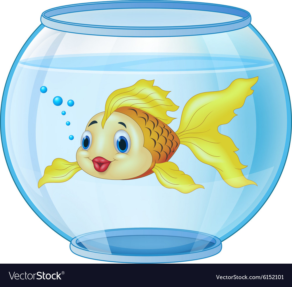 Cartoon golden fish in the aquarium vector
