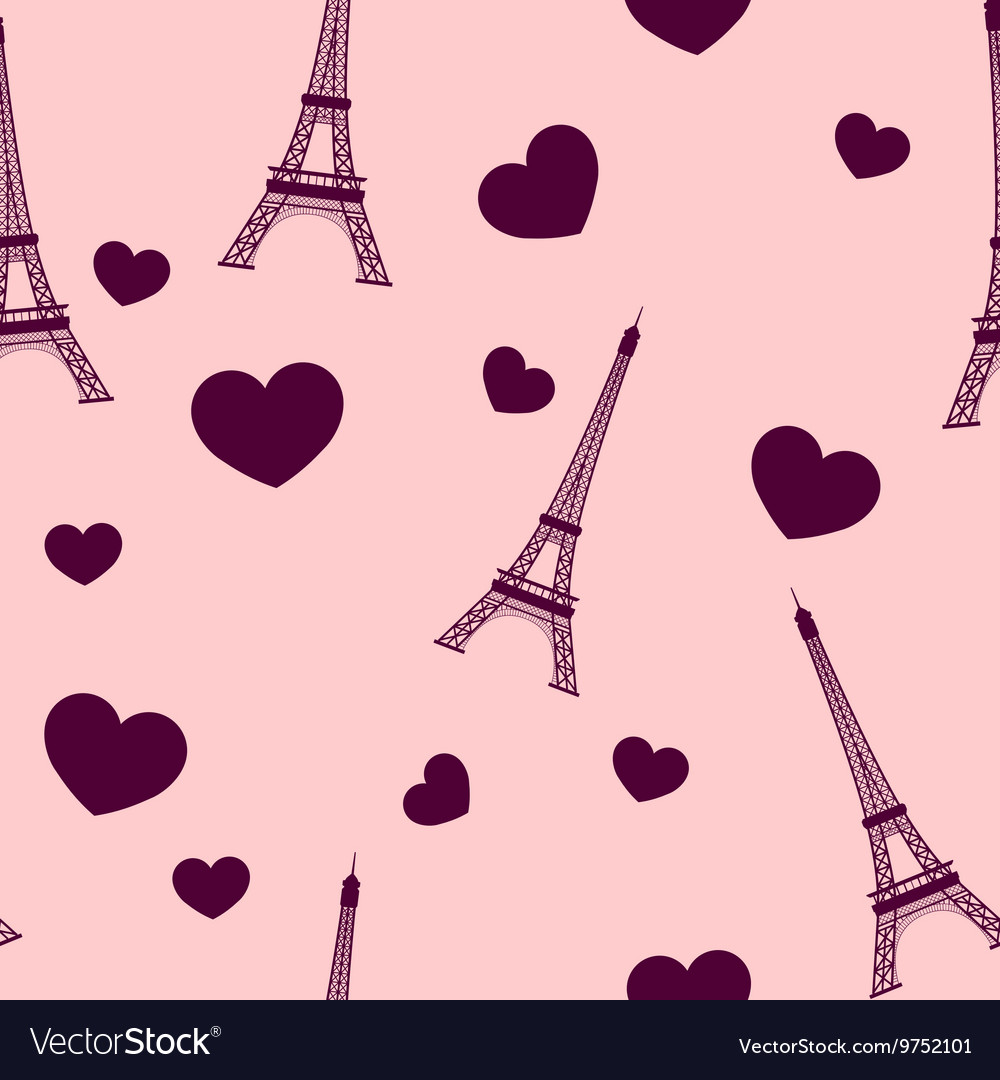 Eiffel tower paris seamless background vector