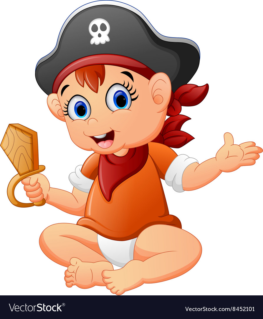 Pirate kid holding a wooden knife vector