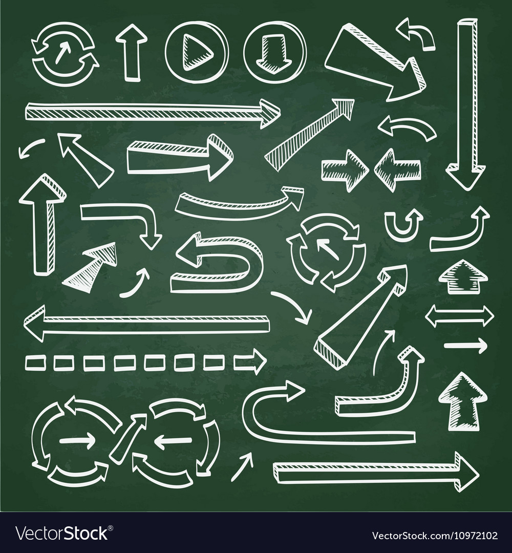 Arrows icons on chalkboard vector