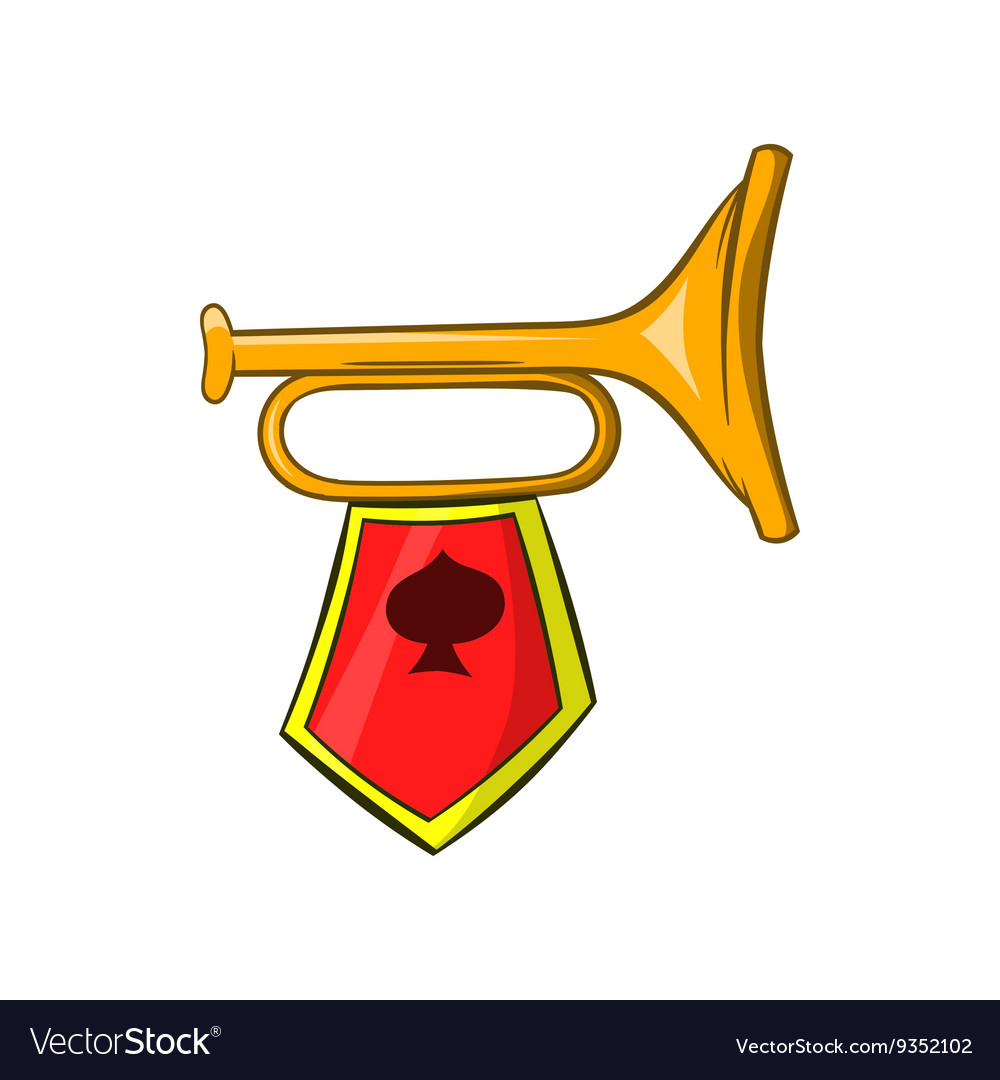 Golden trumpet with a red flag icon cartoon style vector