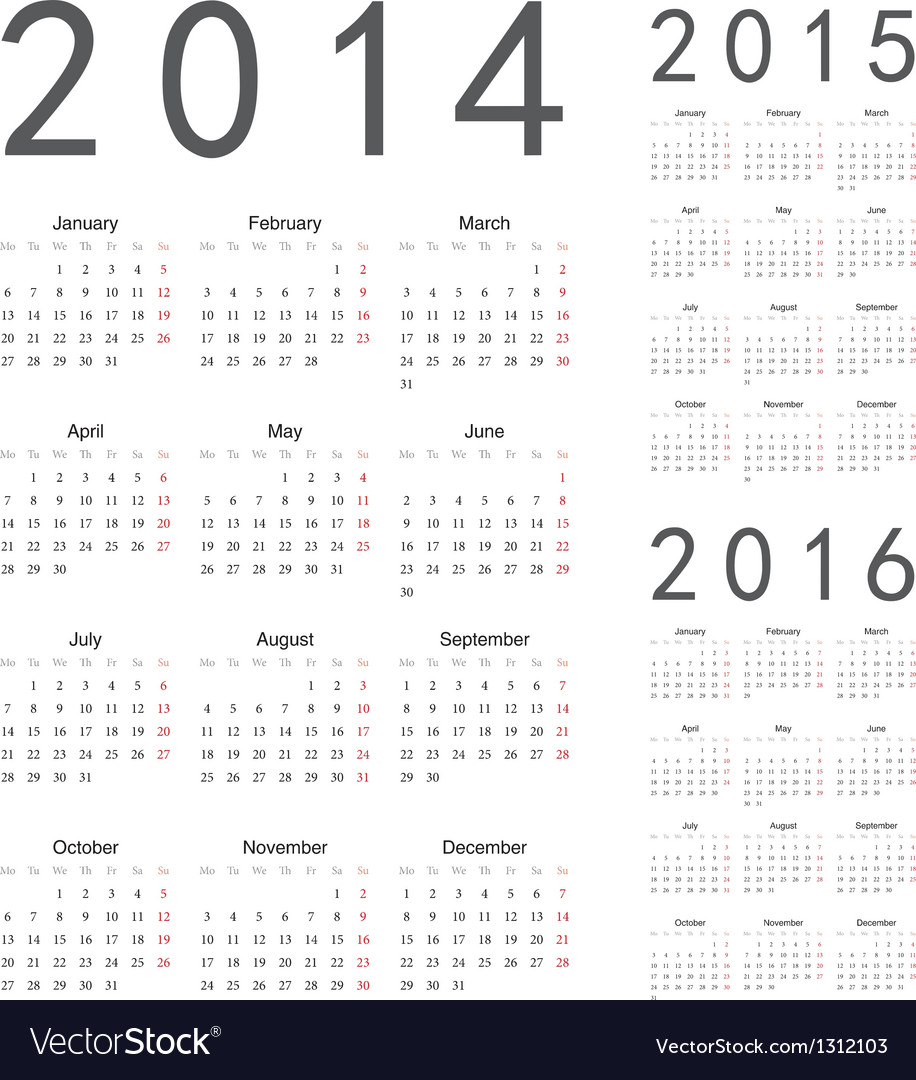 European 2014 2015 2016 year calendars vector