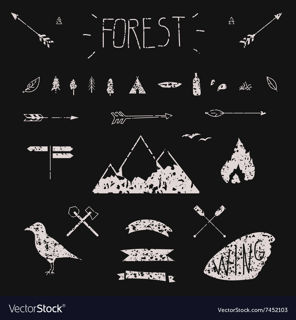 Set of hand drawn tribal design elements hike vector