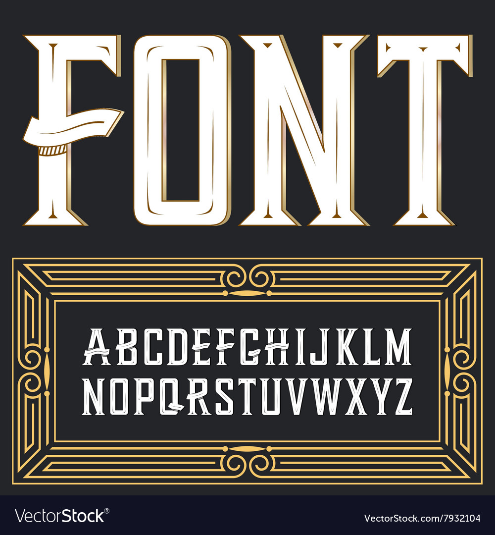Label font with ornament vector