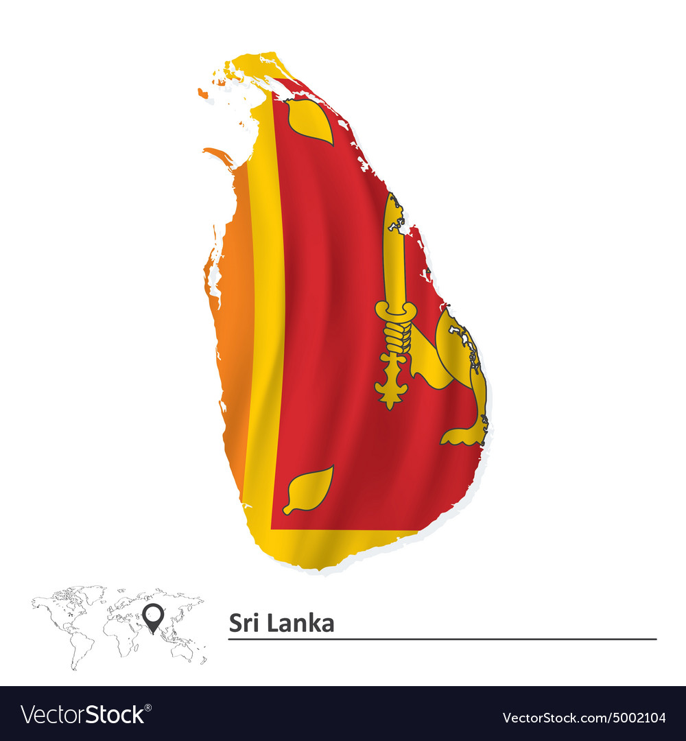 Map of sri lanka with flag vector