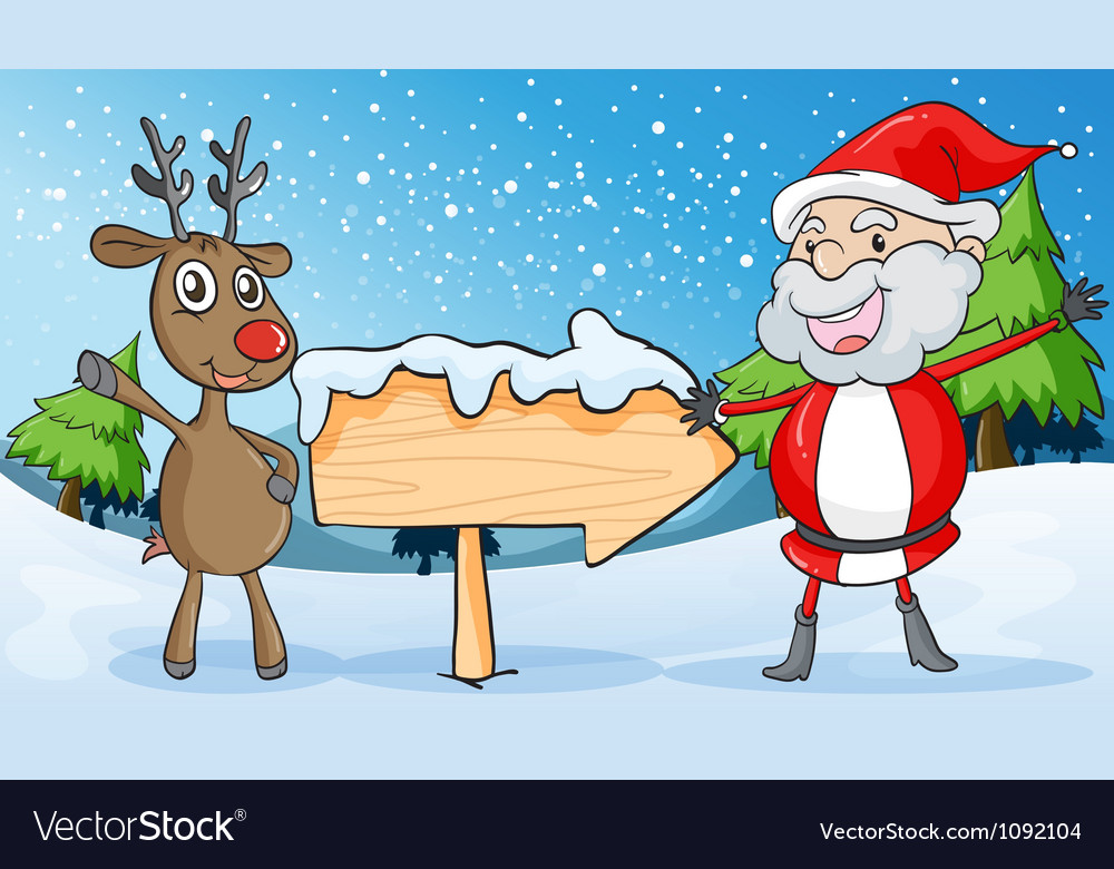 Reindeer and santaclause vector