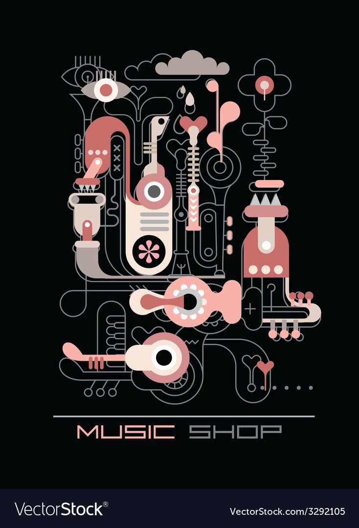 Music factory drawing and color vector