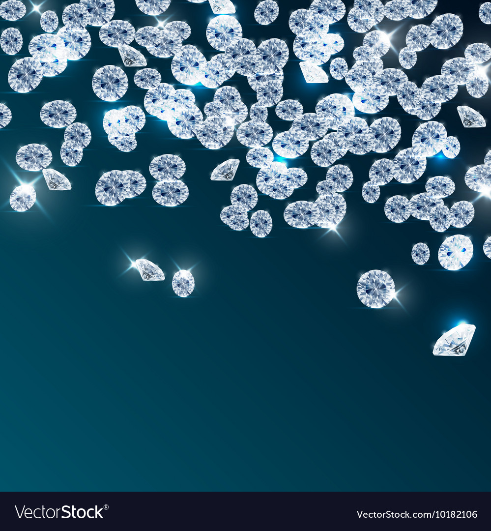 Diamonds falling on blue background vector