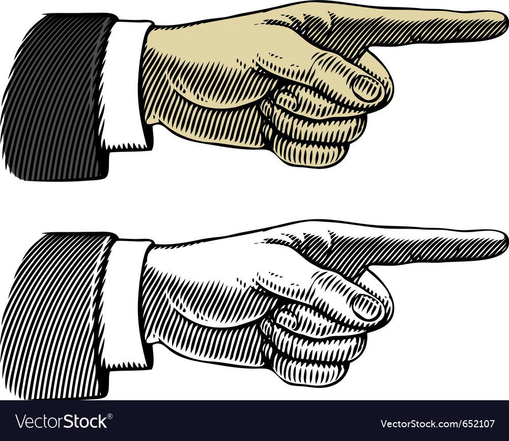 Hand with pointing finger in engraved style vector