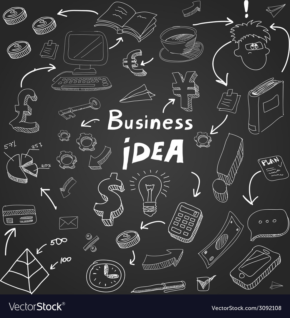 Business doodles chalk on blackboard eps10 vector