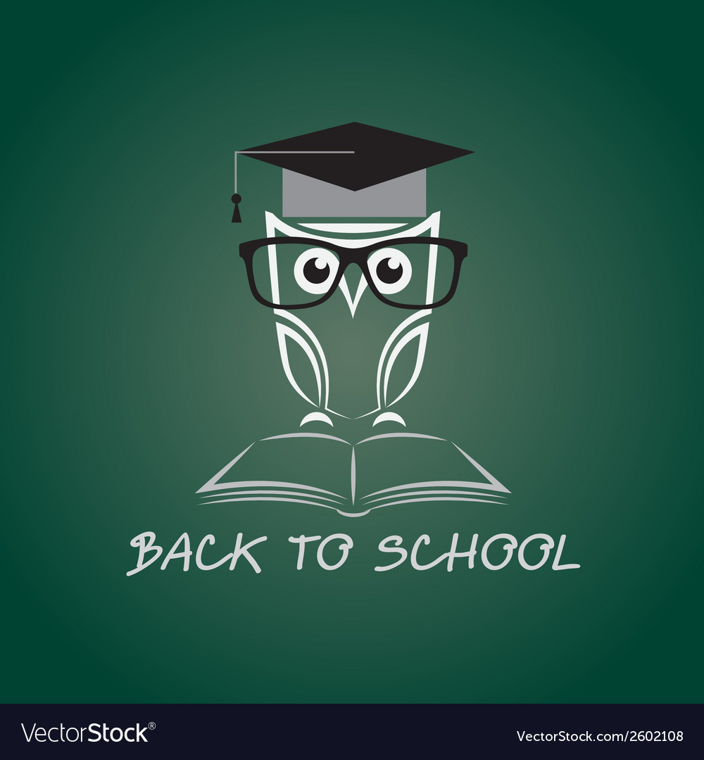 Image of an owl glasses with college hat vector