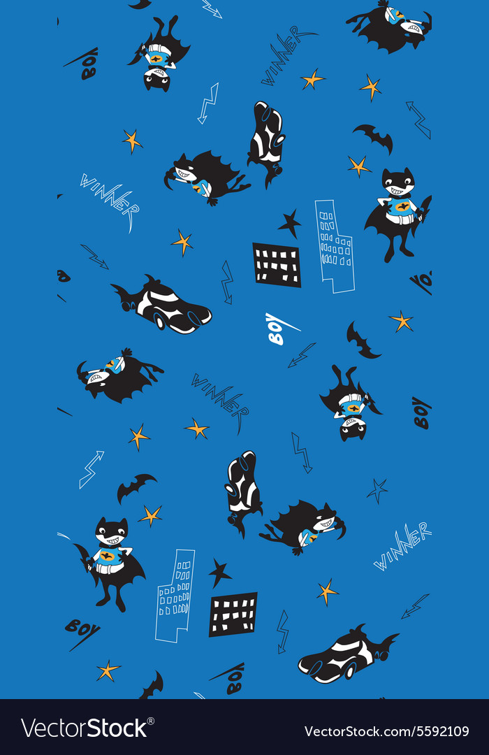 Batman fun cartoon boy seamless pattern vector