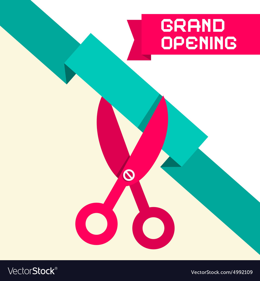 Grand opening retro flat design with scissor vector