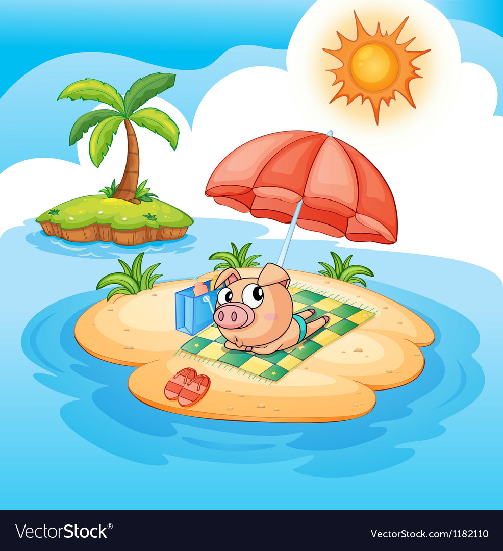 Cartoon pig sunbathing vector