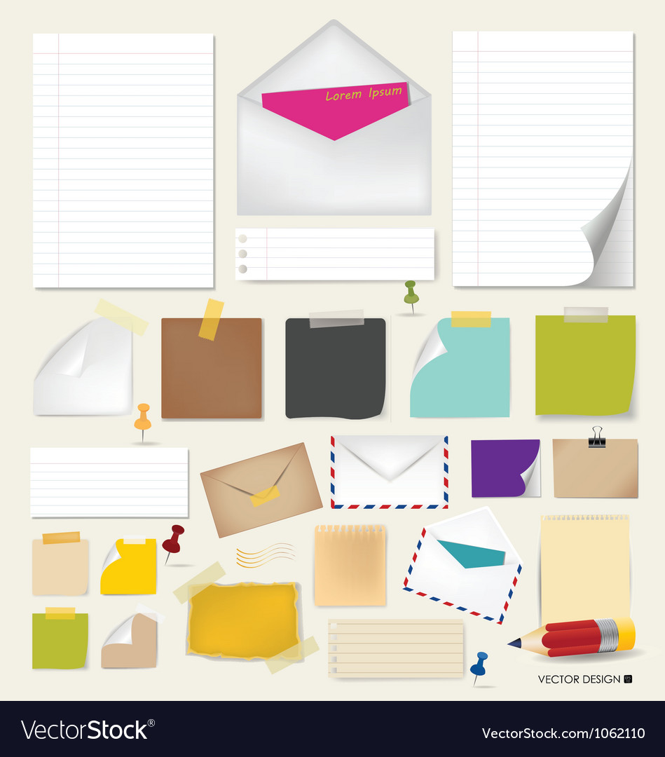 Collection of papers ready for your message vector