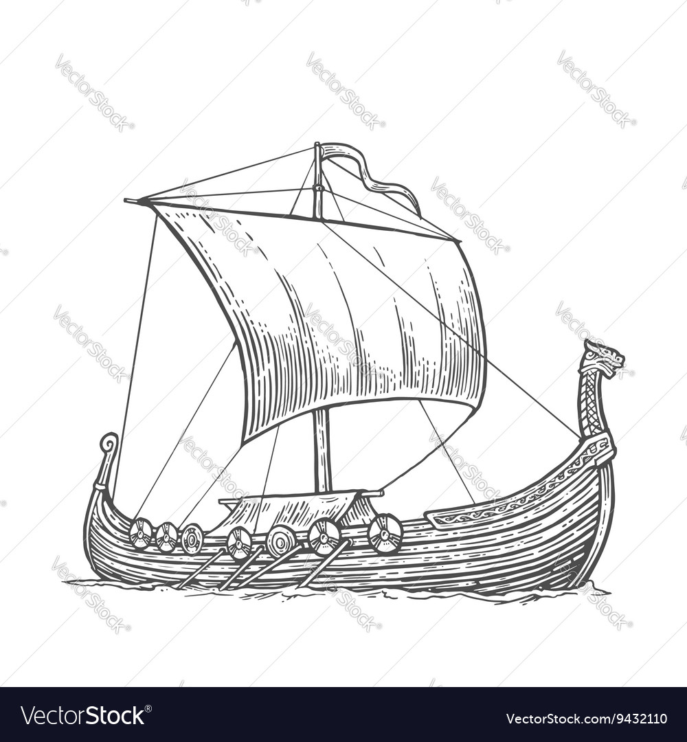 Drakkar floating on the sea waves vector