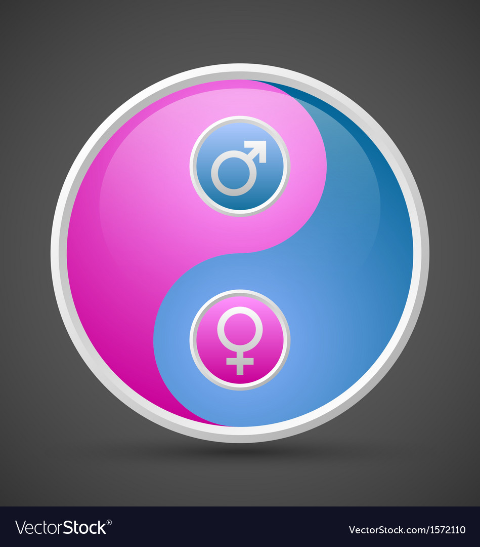 Venus and mars female and male yin yang symbol vector