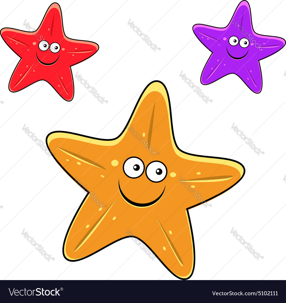 Cartoon yellow red and violet starfish characters vector