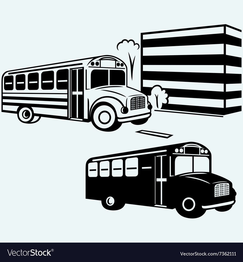 School bus driving along street vector