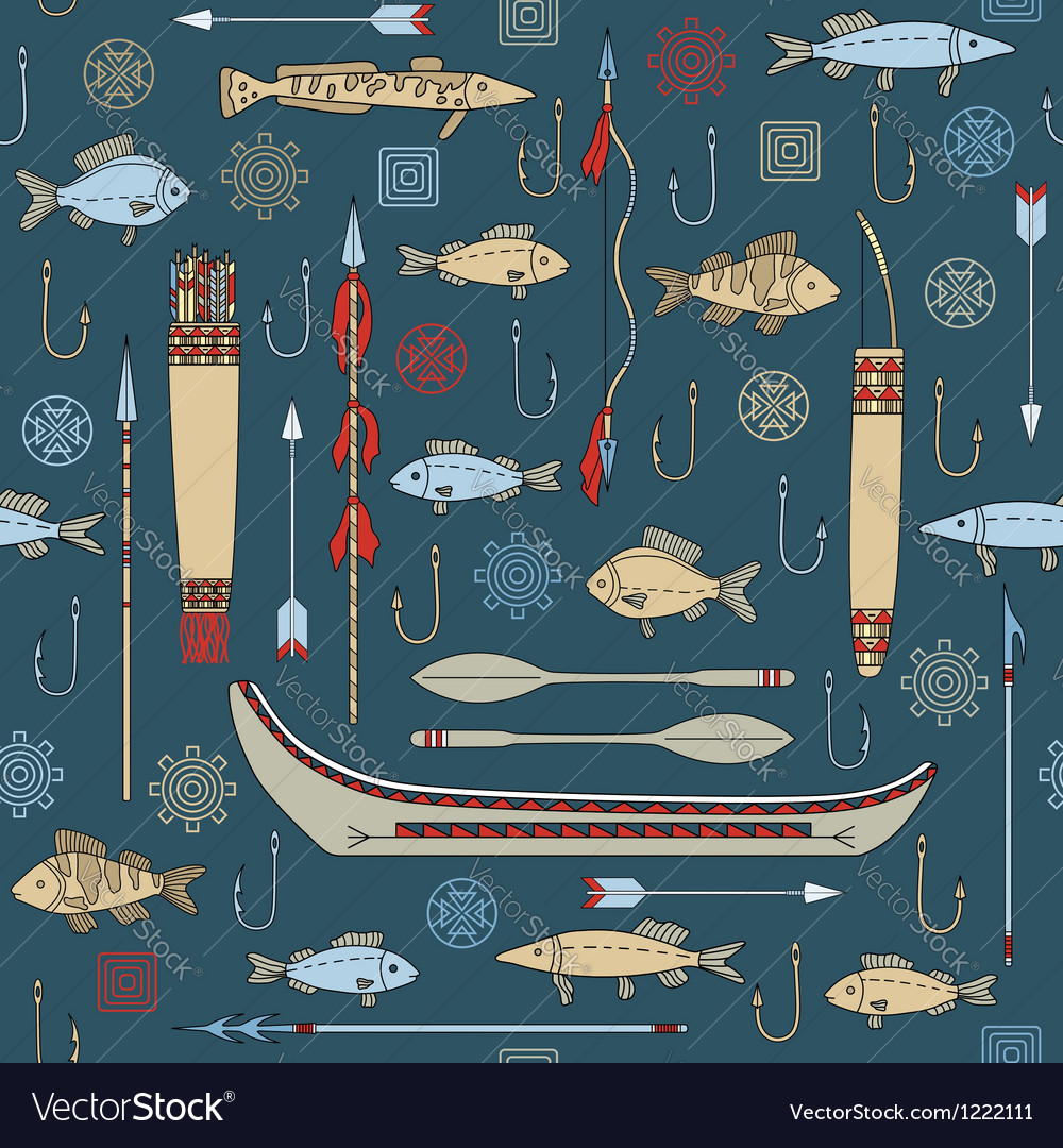 Seamless pattern of indian fishing vector