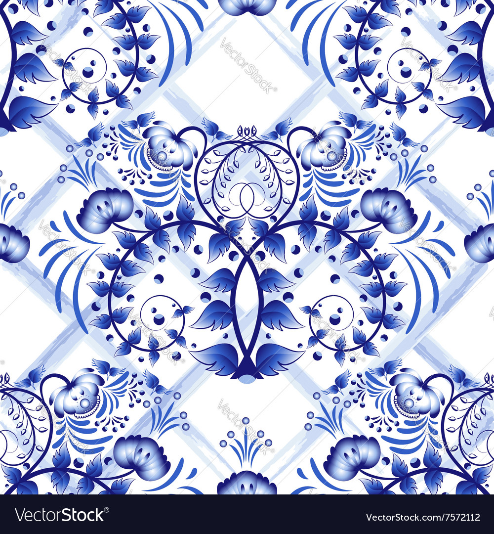 Seamless blue floral pattern with lattice strips vector