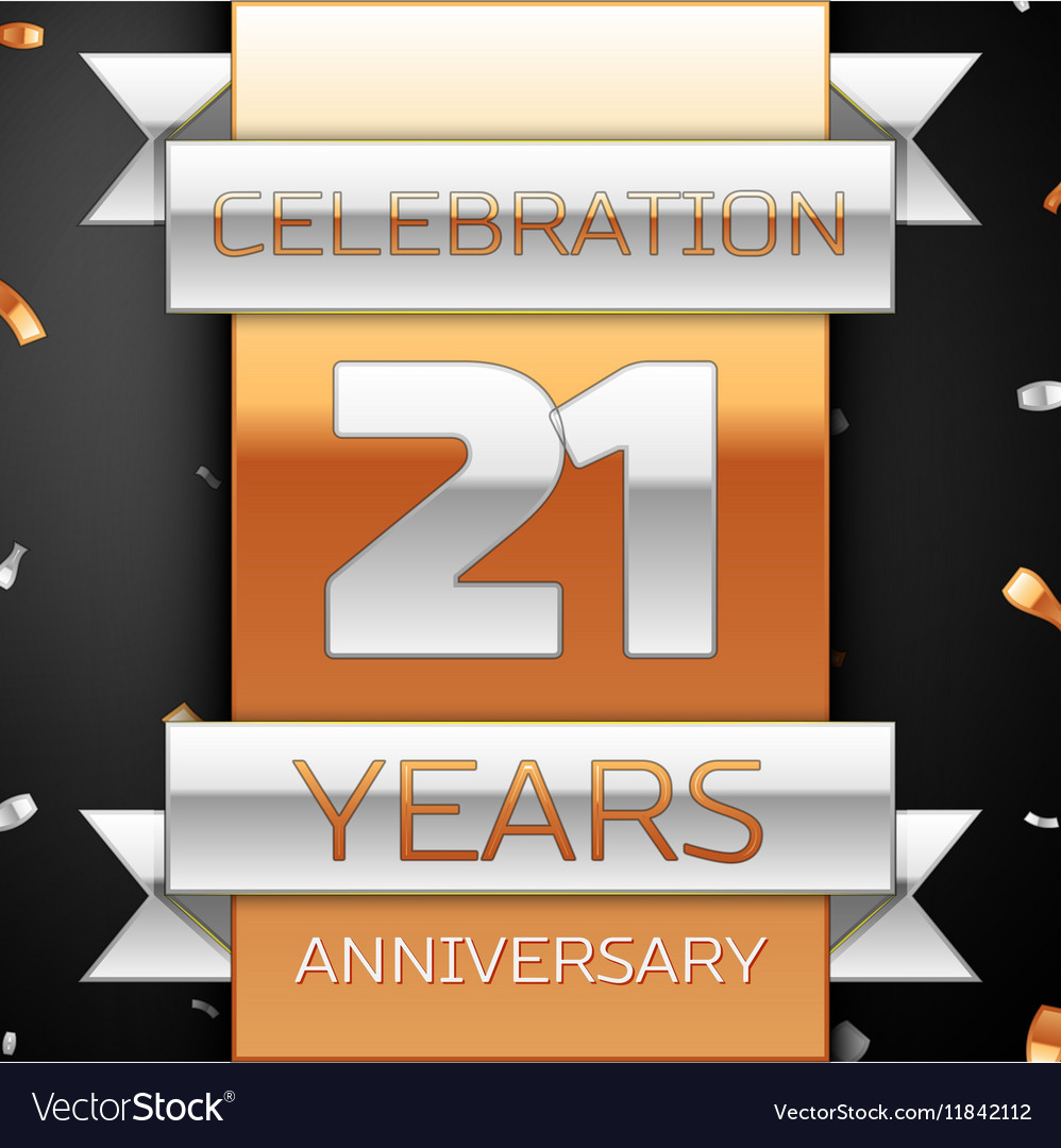 Twenty one years anniversary celebration golden vector