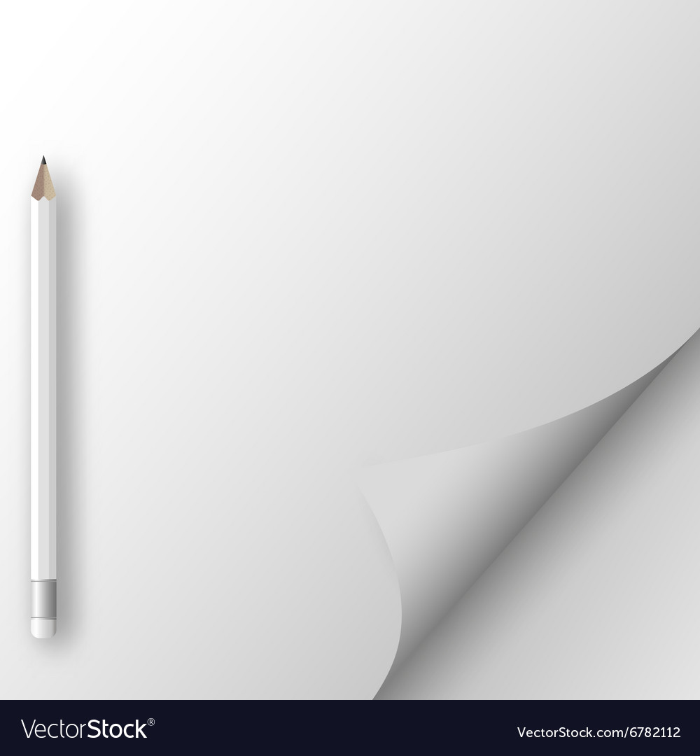 White sheet of paper with pencil vector