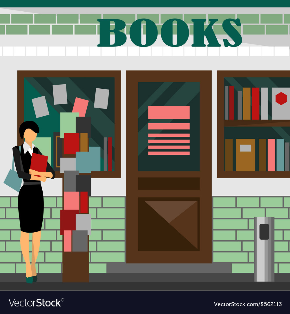 Bookstore mall books shop building vector