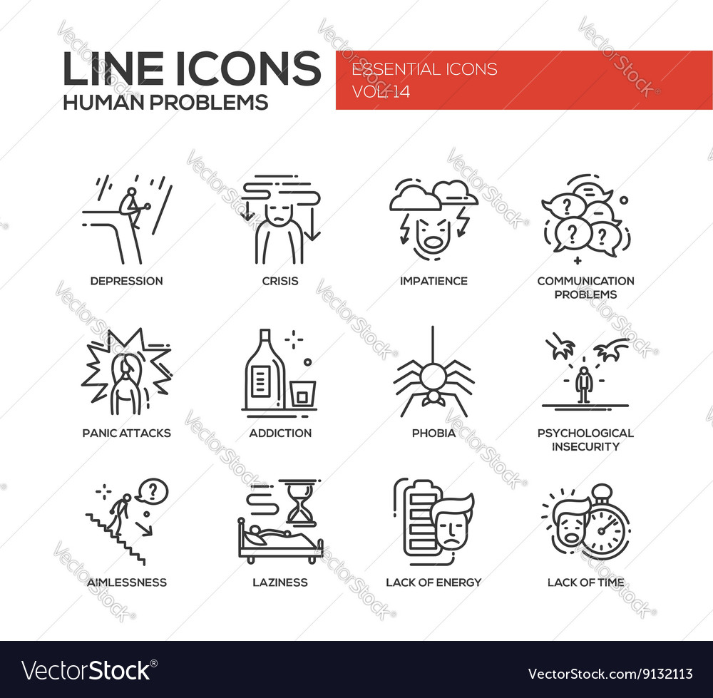 Human psychological problems line design icons vector