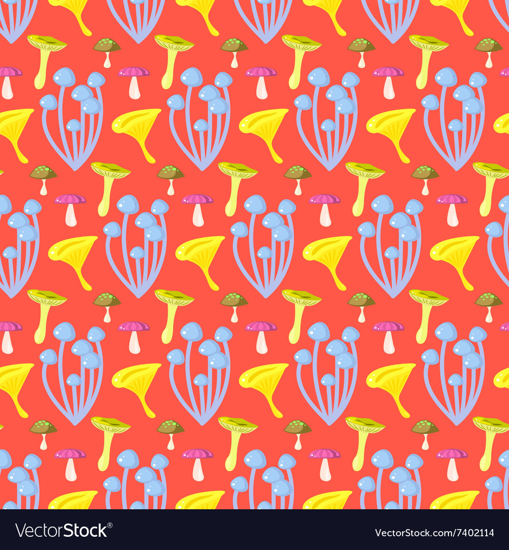 Spring forest mushroom seamless pattern vector