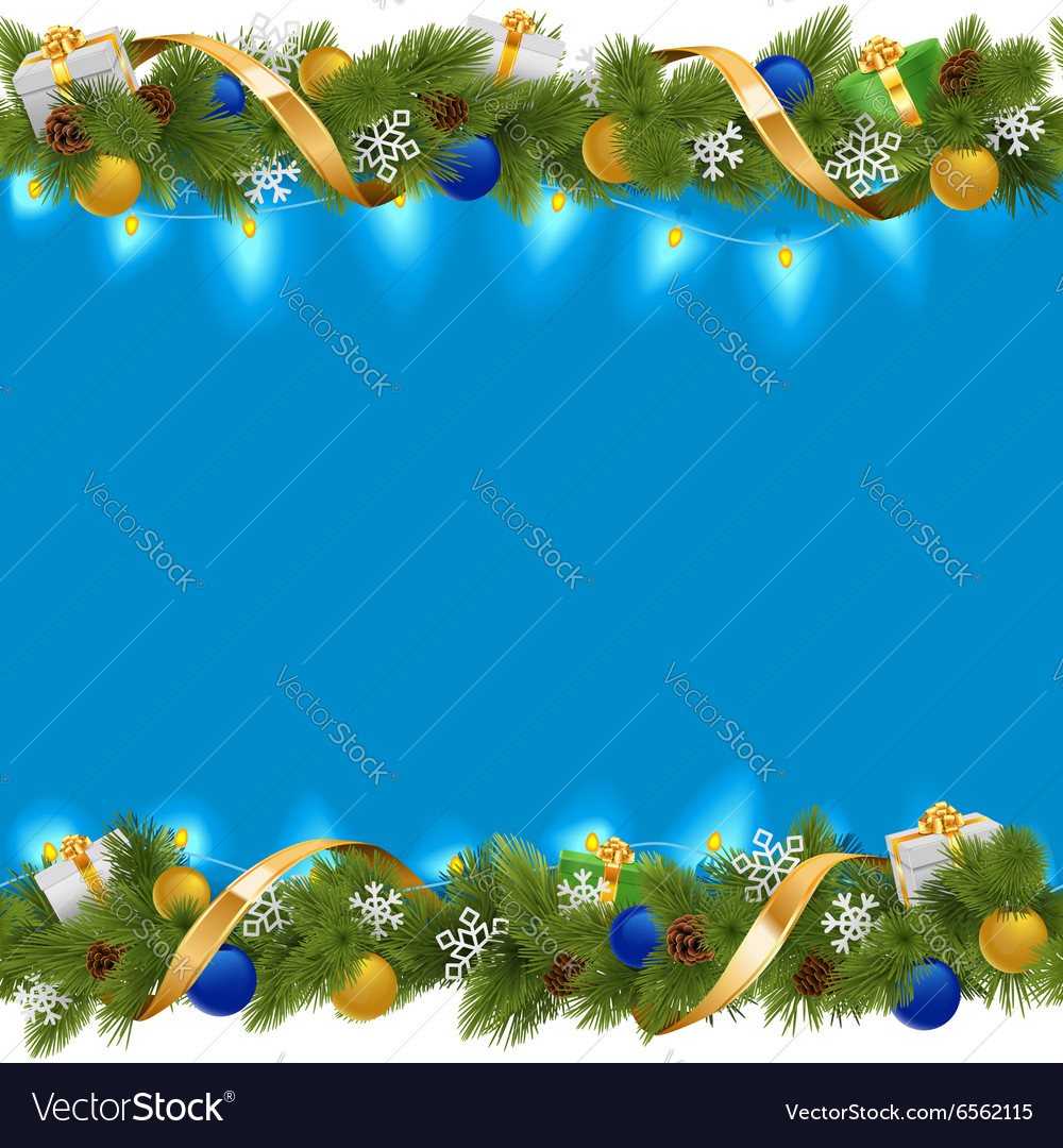 Blue christmas border with garland vector