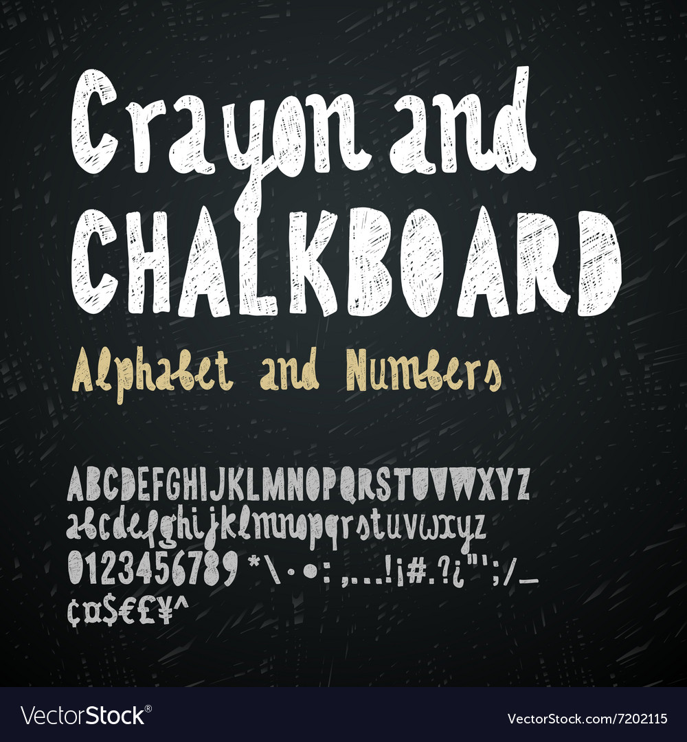 Chalkboard and crayon alphabet vector