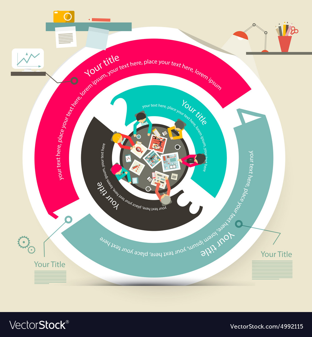 Four steps circle infographics with top view table vector