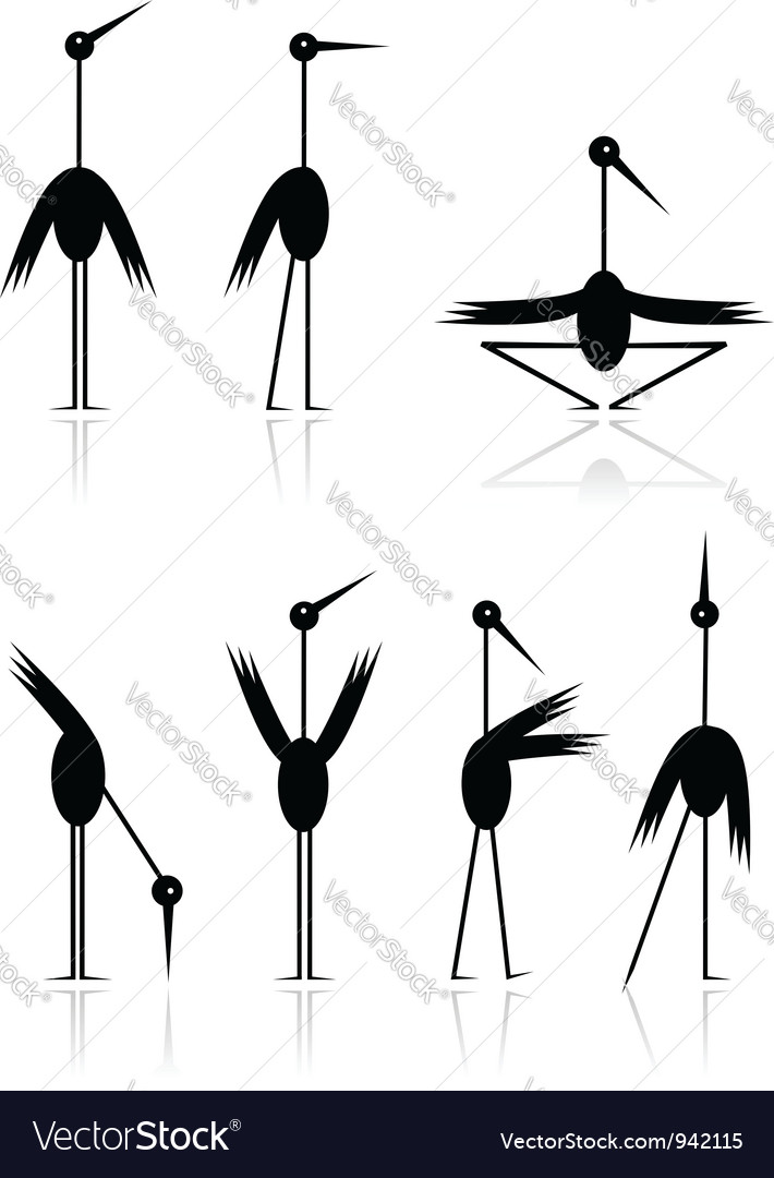 Funny storks collection for your design vector