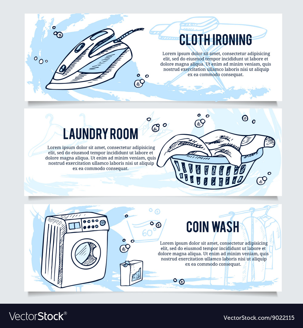 Laundry banners or website header set for service vector