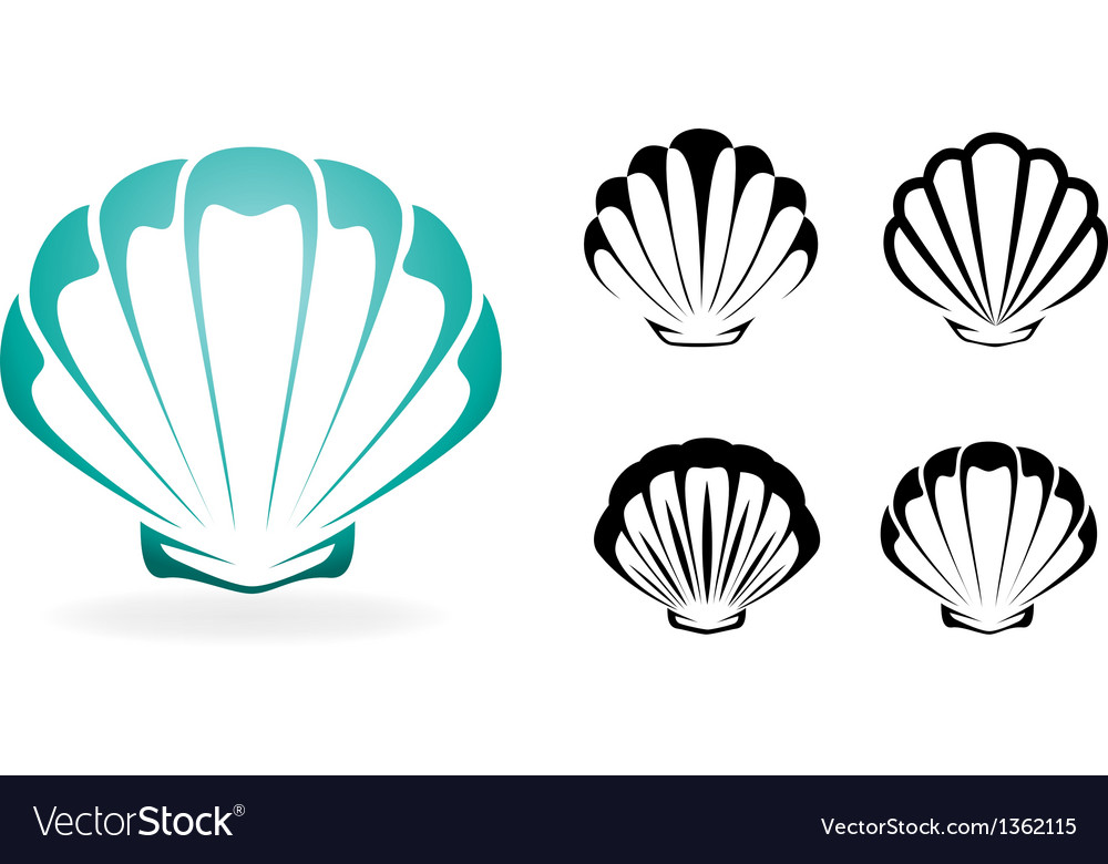 Shell collection  silhouette vector