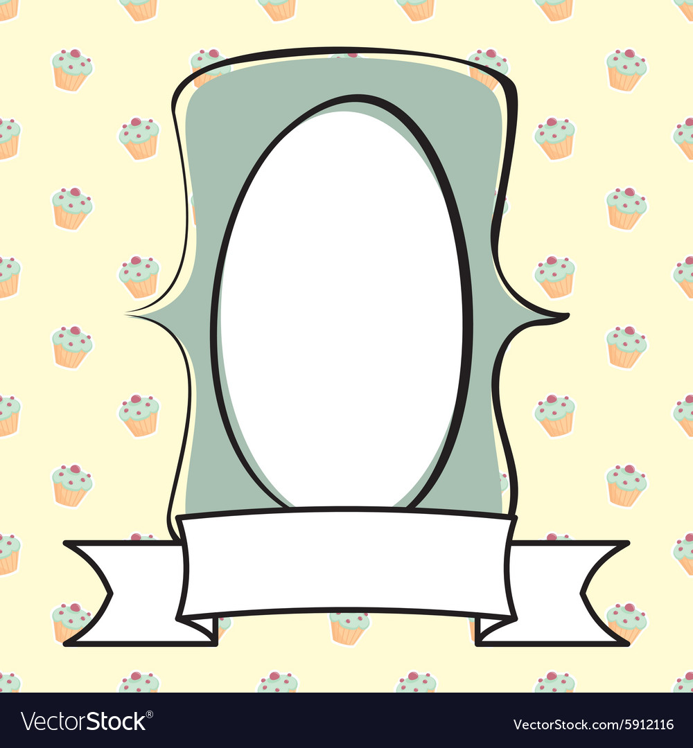 Hand drawn mint green frame on cake background vector