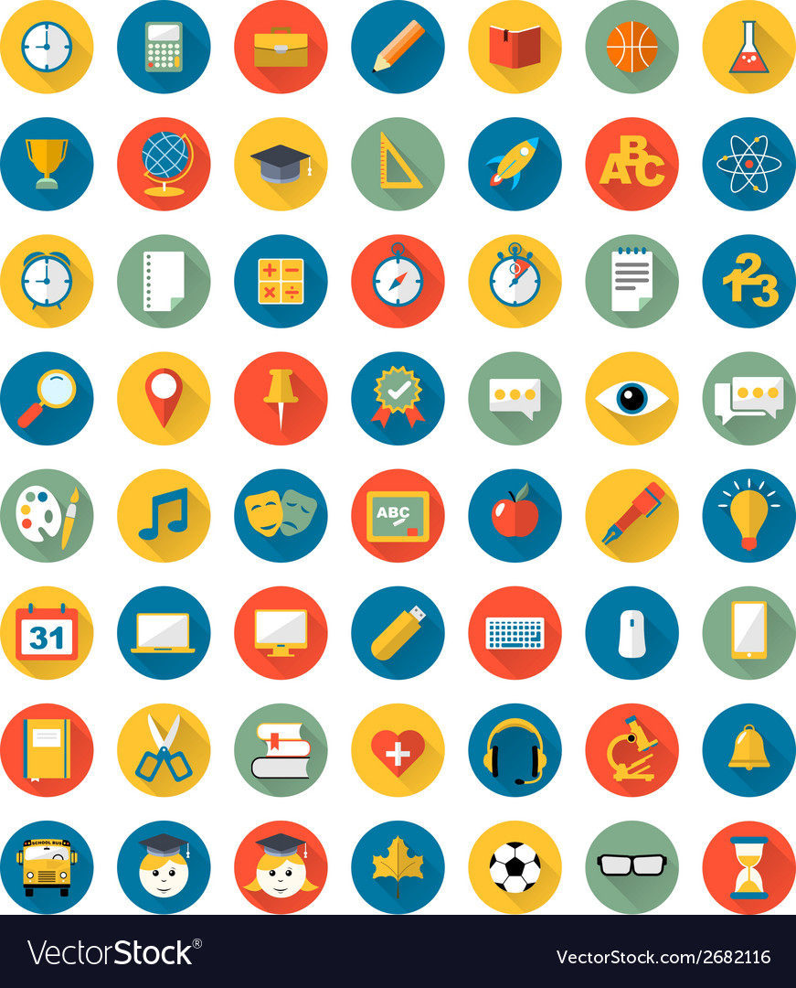 School icons flat design set vector