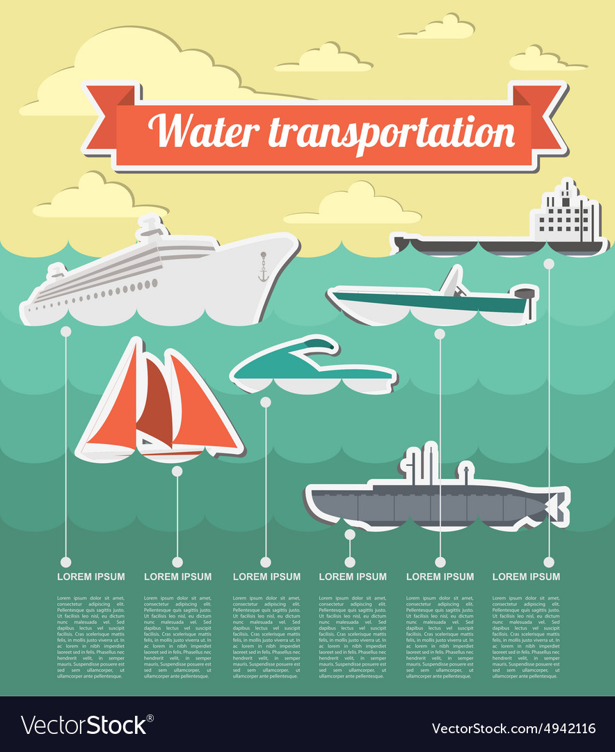 Water transport infographics elements nautical vector