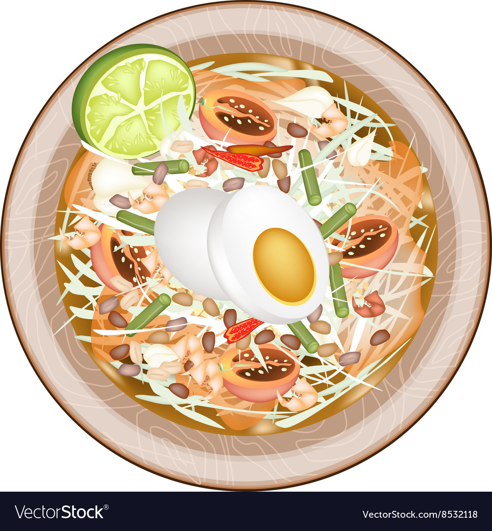 Green papaya salad with fermented salted egg vector