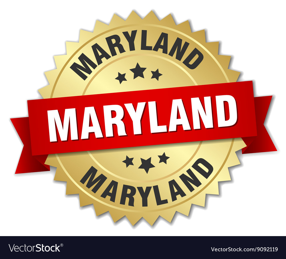 Maryland round golden badge with red ribbon vector