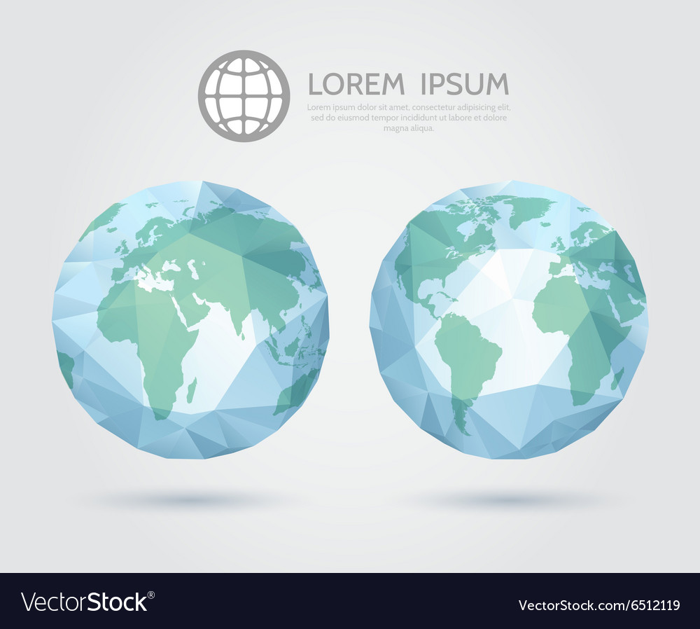Polygonal globe 3d triangular world map of vector