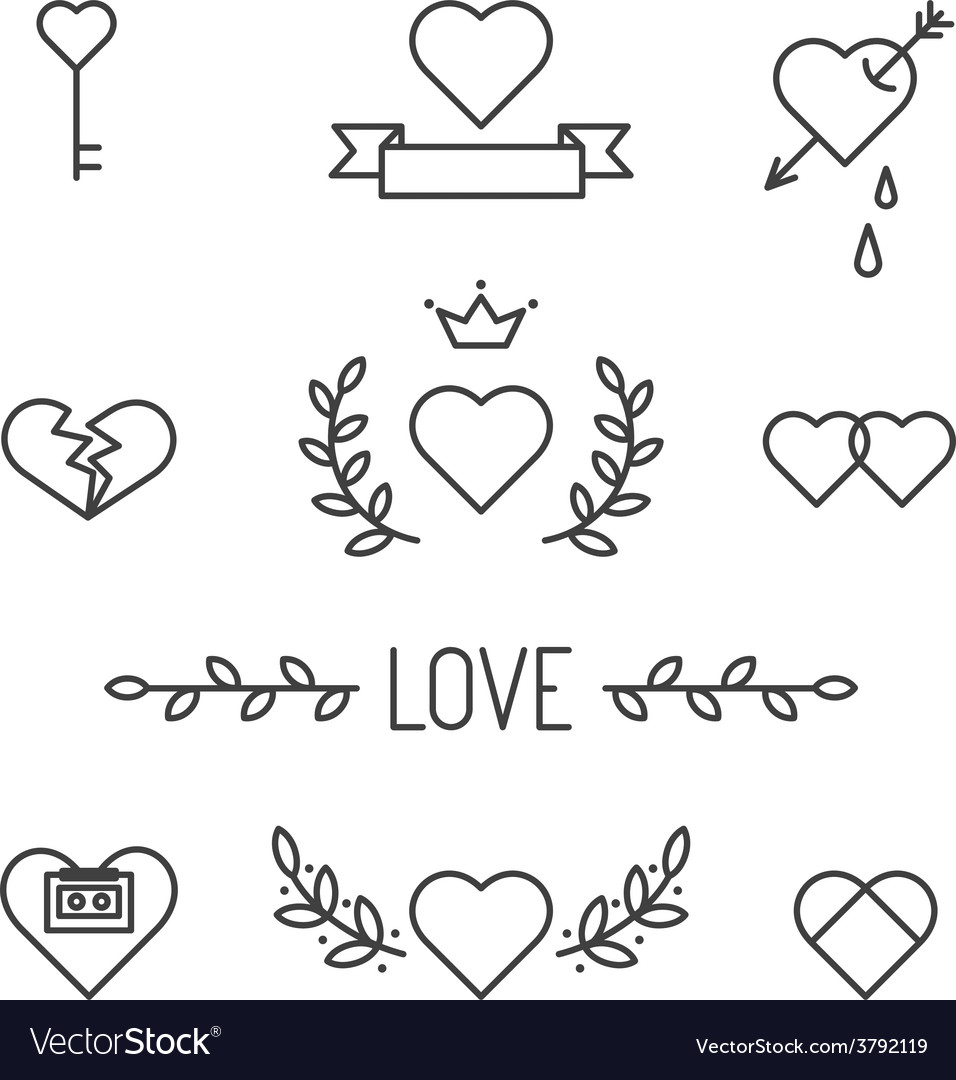 Set of lined hearts and elements in tattoo style vector