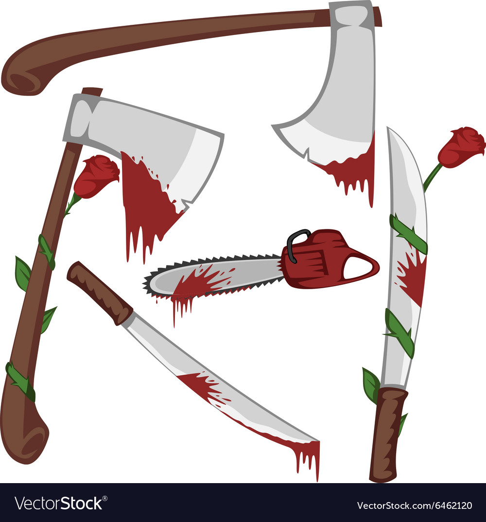 Bloody set of weapons vector