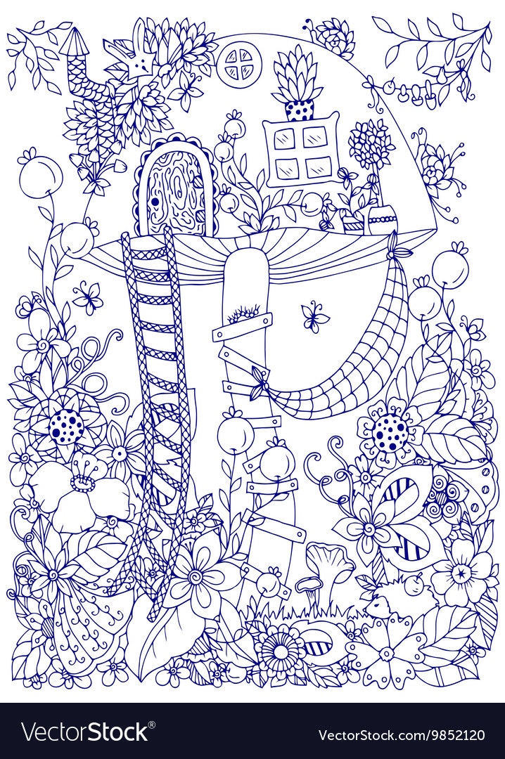 Zen tangle doodle house of vector