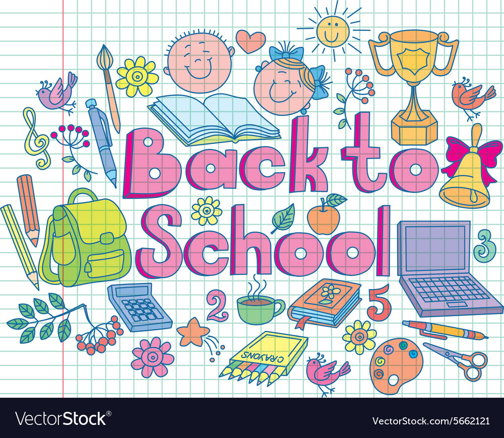 Back to school composition color vector