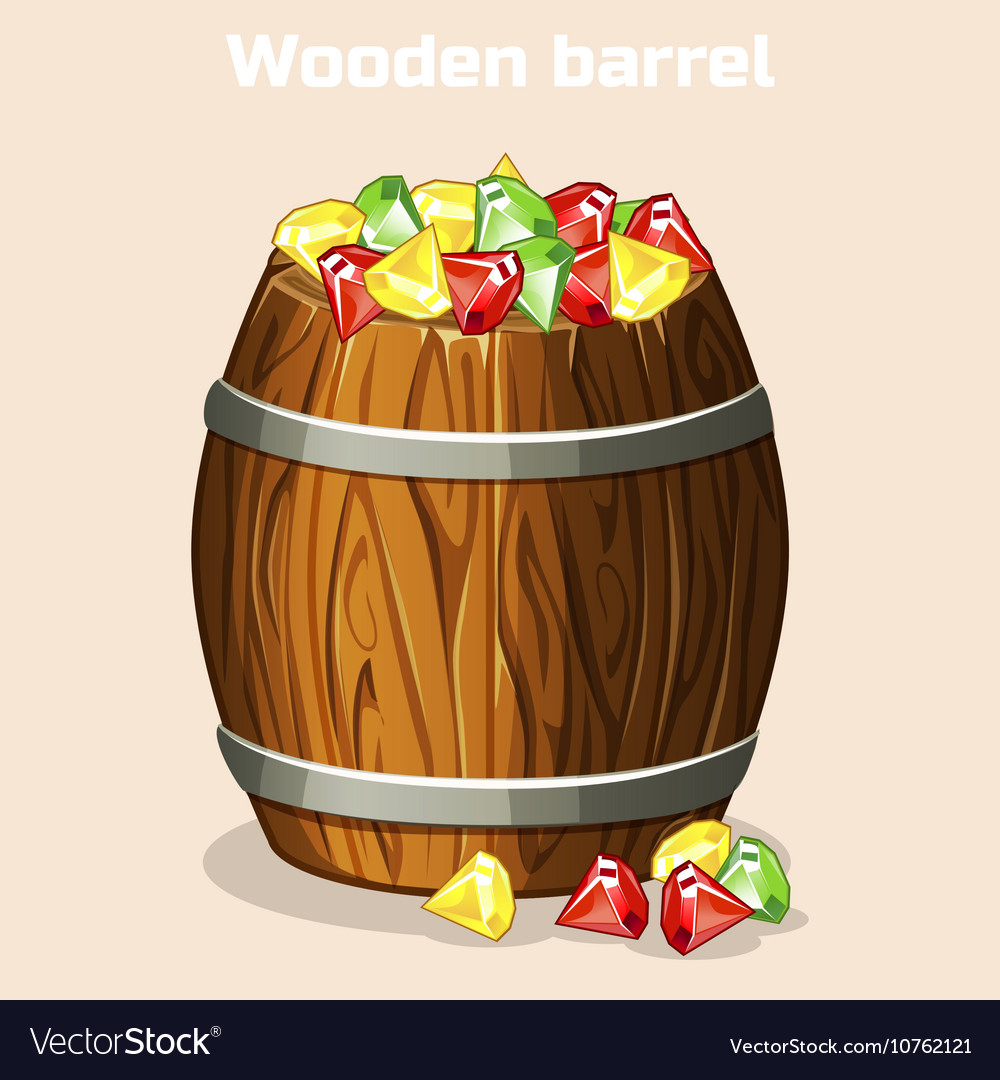Cartoon wooden barrel full of colorful gems game vector