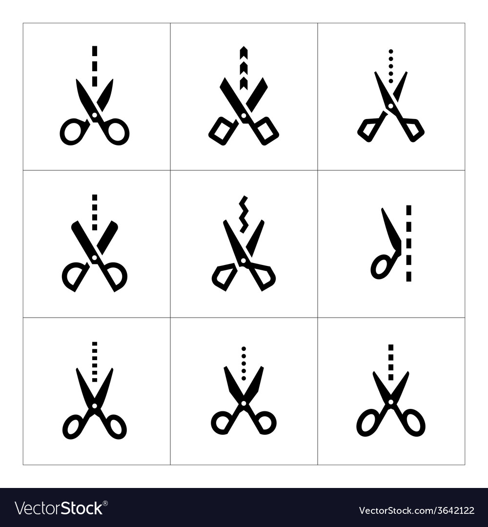 Set icons of scissors with cut line vector
