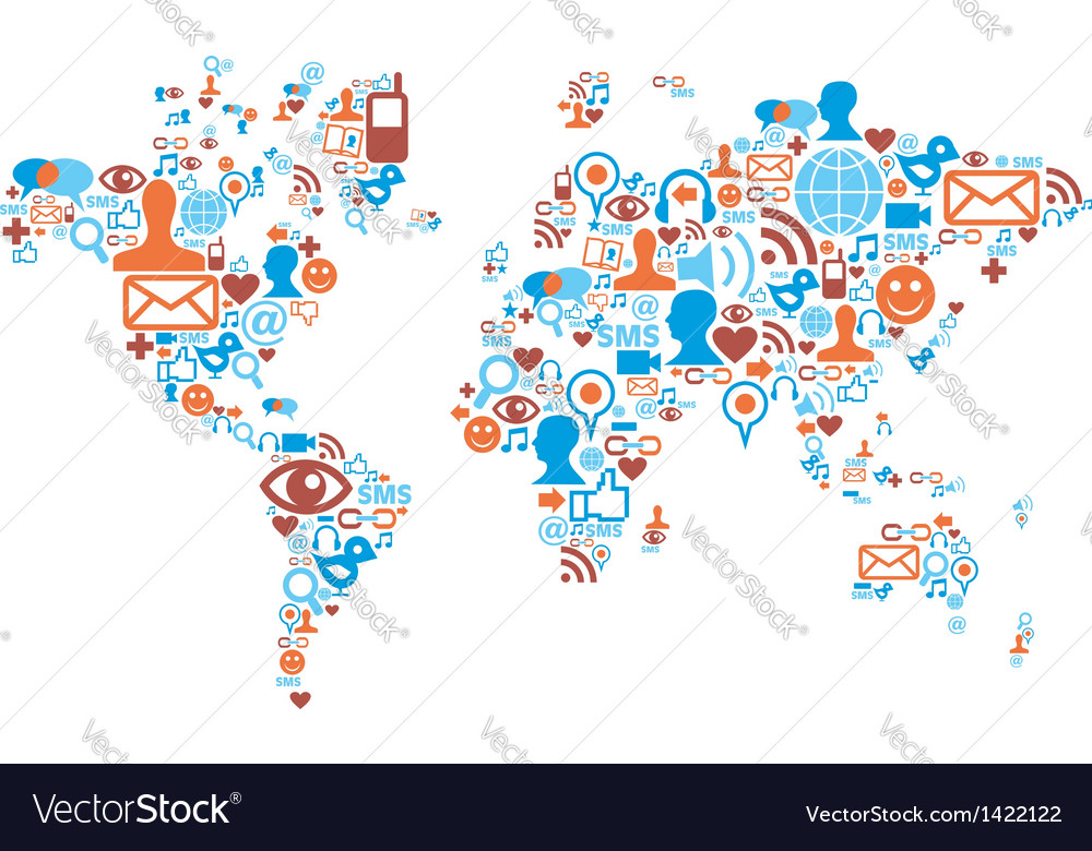 World map shape made with social media icons vector